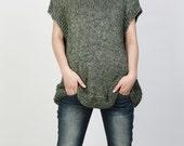 Hand knit Tunic sweater eco cotton woman sweater vest Fall green