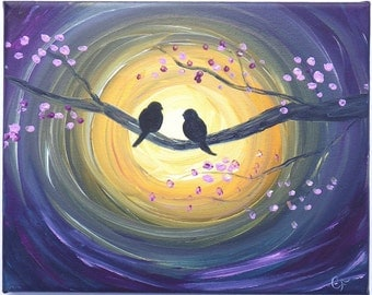 Birds on a branch painting, silhouette painting of birds in front of the sun. Romantic bird painting 8x10