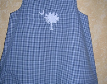 Girl's Navy and White Gingham Aline Jumper Dress Palmetto Tree South Caolina Personalized Sizes 12 mo.-6 years