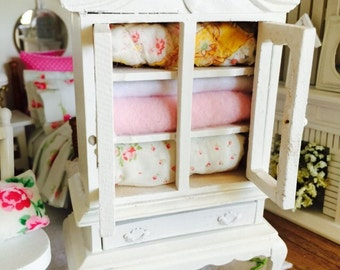 French Country Quilt and Linen Hutch- Dollhouse Scale 1:12