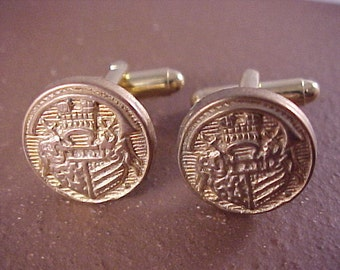 SALE Gold Crest Vintage Button Cuff Links - Free Shipping to USA