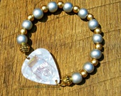 Mason Jar Shine On Guitar Pick Bracelet with Silver Gold Wood Beads Southern girl charm pride saying phrase moonshine country music