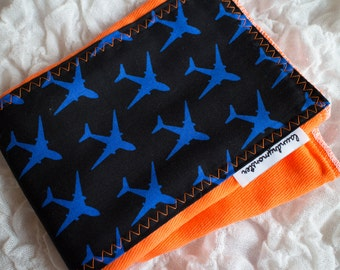 Baby Burp cloth - orange airplanes hand dyed burp cloth