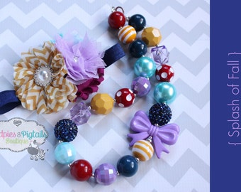 Baby Headband or Chunky Necklace set { Splash of Fall } navy, mustard, plum purple thanksgiving , Fall holiday, photography prop