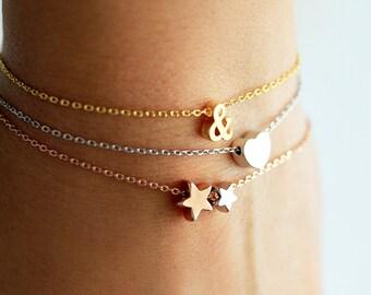 Ampersand Bracelet - Gold Silver Rose Gold Tiny Dainty & Bracelet Chain Custom Bridesmaid Gift Personalized Wedding Ampersand Mini