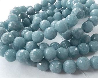 Angelite Gemstone. Semi Precious Gemstone Bead. Smooth Round Bead, 10mm. Packet of 6 Beads.  (75ag)