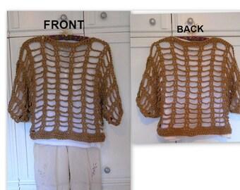 CROCHET PATTERN, 3/4 sleeve, summer pullover top, Adult S to 4XL, crochet for women,  crochet sweater, # 843