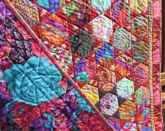 Red Hexie Stars Quilt- Made with Kaffe Fassett Fabrics