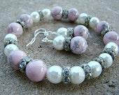 Bead Bracelet, Bracelet Bead, Pink Bead Bracelet, Bracelet Pink, White Pearl Bracelet, Bead Pearl Bracelet, Bracelet Pearl Matching Earrings