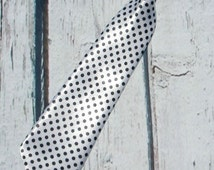 boys black/white necktie, polka dot tie, first birthday neck tie, wedding ring bearer, baby infant toddler kids girls costume tie, photo