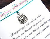 Happy Birthday - Wish Bracelet With Birthday Cake Charm - Shown In The Color TEAL - Over 100 Different Colors Are Also Available