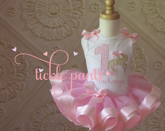 Carousel Tutu Outfit- Pink and Gold - Baby girls 1st birthday - Includes embroidered top and ruffled tutu - Can be customized