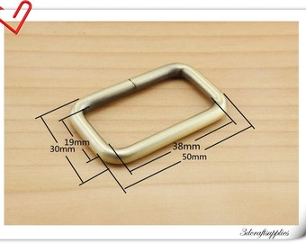 1 1/2 (1.5 )  inch (inner diameter) anti brass rectangle  rings for bags fingdings 10pcs U31