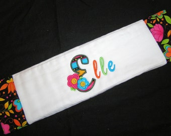 Personalized Baby Burp Cloth - Appliqued - Neon