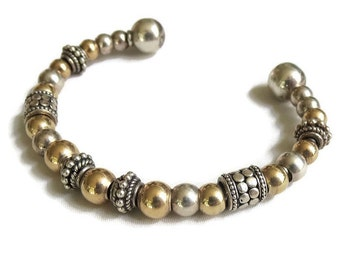 Vintage Silver Tone & Gold Tone Mixed Metal Beads Cuff Bracelet - Mixed Metals