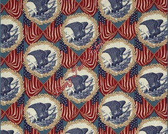 "Windham ""Let Freedom Ring"" #40947 Patriotic Eagles US Flags Cotton Fabric 1/2 Yd. 18"" x 44"""
