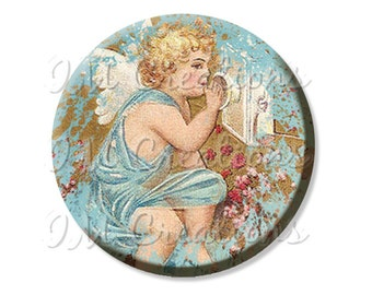"Pocket Mirror, Magnet or Pinback Button - Favors - 2.25""- Vintage Calling Cherub MR177"