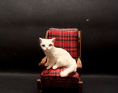OOAK Handsculpted Dollhouse Miniature Khao Manee Bi-Color Eye Cat Kitten Malga