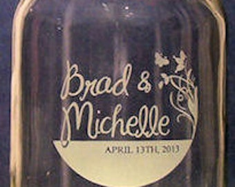 76-100 Wedding Hand Etched 16 oz. Mason Jars. three dollars and seventy -five cents each...must order at least 76 for this price.
