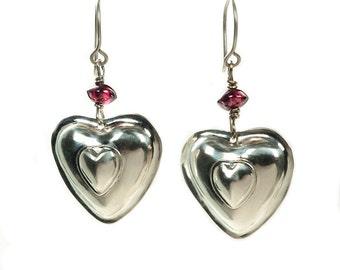Silver two hearts pendant earrings