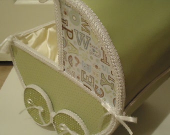 Mini baby boy carriage centerpiece decor made to order for Baby carriage decoration