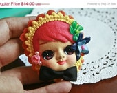 20% Off SALE Vintage Bradley Pose Doll Face Japanese Kawaii Dolly Brooch Pin pink retro shabby chic art flower cute
