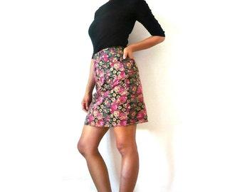 French Vintage Rose Denim Mini Skirt
