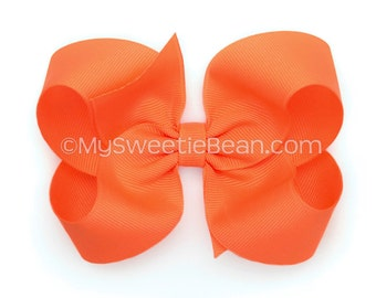 "Papaya Hair Bow, 4 inch Boutique Bow, Toddler Bows, Hair Bows for Girls, Tropical Orange, Persimmon, Orange Pink, 4"" Hair Bow for Toddlers"