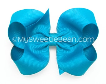 "Island Blue Boutique Bow, 4 inch Hair Bow, Tropical Blue Bow, 4"" Basic Hairbow for Baby Toddler Girls, Bright Blue, Caribbean Blue"