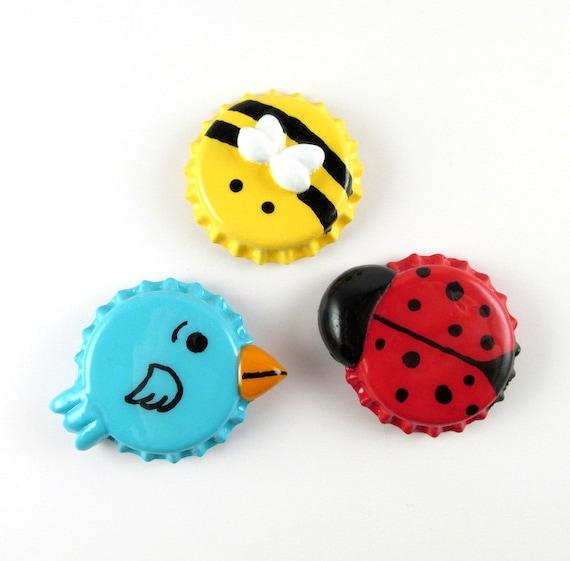Bumble Bee Ladybug Blue Bird Magnet Set Cute Kitchen Decor Handmade