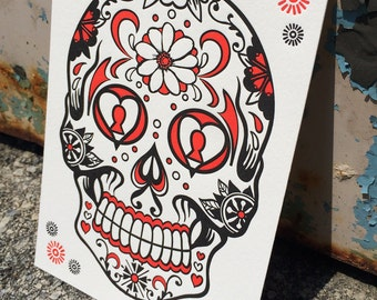 Day of the Dead Skull - Orange : *NEW* Letterpress ART PRINT