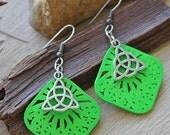Green Wood Charm Earrings // Charm Earrings // Gifts Under 10 // Triquetra Earrings // Boho Earrings // Wood Jewelry //  Earrings