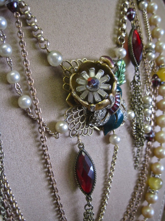 Gather Ye Rosebuds: Victorian Necklace Vintage Assemblage Romantic Shabby Chic Statement Rose Pearls Rhinestones 1940s Trembler BOHO WEDDING