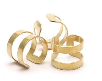 Brass Boho Ring, 12 Raw Brass Adjustable Ring Settings- (17mm) Bs 1333