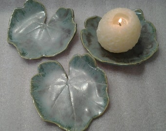 Set of Three Hollyhock Leaf Plates, Candle holders, Sushi Dishes - Handmade Pottery - Green