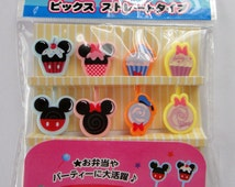 Disney Mickey Mouse, Minnie Mouse, Donald Duck & Daisy Duck Cupcakes And Lolly Shaped Bento Picks / Cake Toppers - Set Of 8