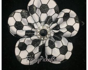 Glitter Soccer Flower Petal grosgrain clip