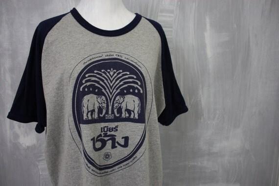 Beer chang navy grey graphic print short raglan baseball for Xxl tall graphic t shirts