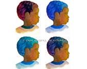 4 Afro Boy Silhouettes 8x10 art print