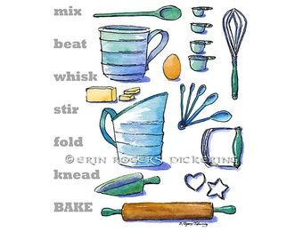 Mix Beat Whisk Baking Kitchen Art print 8x10