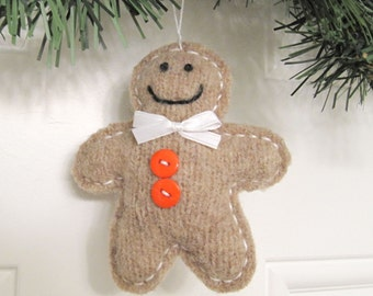 Fabric Gingerbread Man Ornament Christmas Decoration Handmade from Felted Wool Sweaters no716
