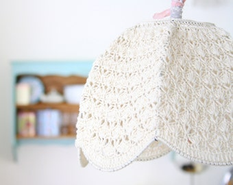 Crochet Lampshade - cream for Ety Hadar