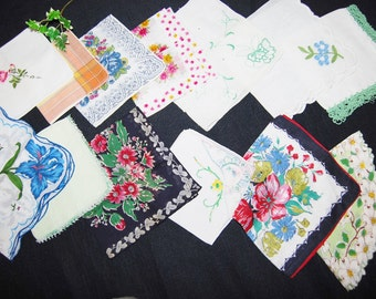 Vintage Hankies A Touch of Mint with Shabby Chic Collection......Twelve