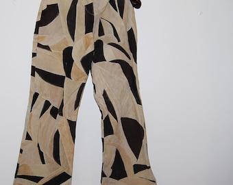 Vintage Hippie High Waist / Split Bell Bottom / Suede Patchwork Pants