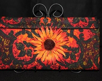 Handmade Clutch Vintage Upholstery Fabric Cadiz Pattern Orange & Black