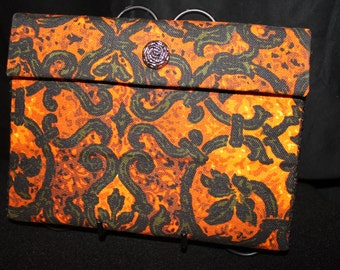 Handmade Clutch Purse Vintage Upholstery Fabric Cadiz Pattern Yellow & Orange