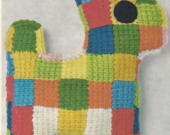 Vintage Crochet Pattern Patchwork Dog
