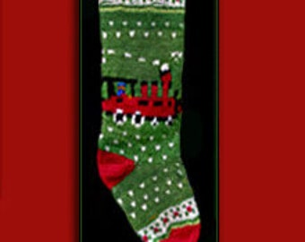 Hand knit Christmas stocking,  Personalized, made of pure wool yarn,  fully lined -- Train, holly and snowflake