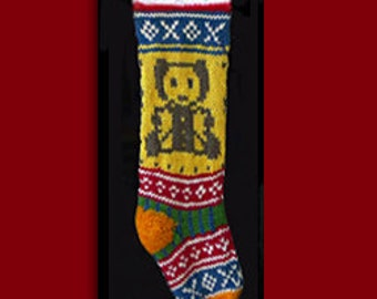 Hand knit Christmas stocking,  Personalized, made of pure wool yarn,  fully lined -- teddy bear and snowflake