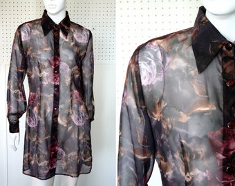 Vintage Sheer Floral Print Extra Long Button Up Woman's Blouse